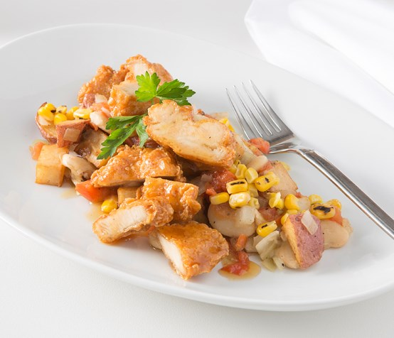 Battered Chicken with Southern Succotash
