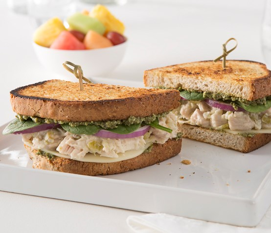 Spinach and Chicken Salad Sandwich