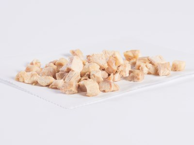 "CN Diced 1/2"" White and Dark Chicken Meat Strips image"